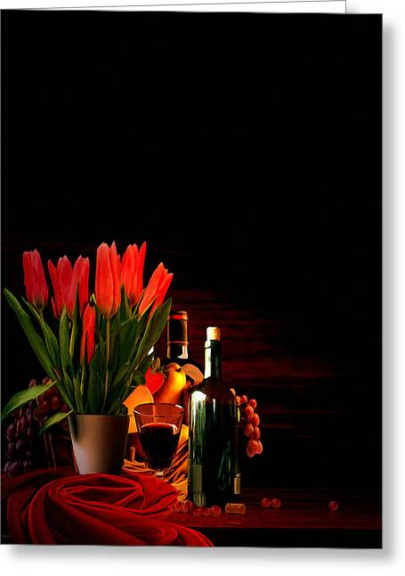 Fruit And Wine Digital Greeting Cards - Elegance Greeting Card by Lourry Legarde