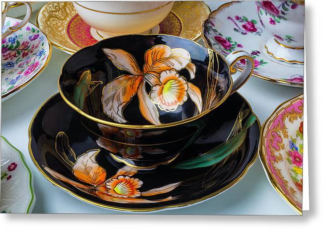 Elegant Black Tea Cup Greeting Card