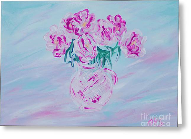 Elegant Bouquet Of Peonies. Joyful Gift. Thank You Collection Greeting Card