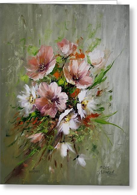 Elegant Flowers Greeting Card by David Jansen