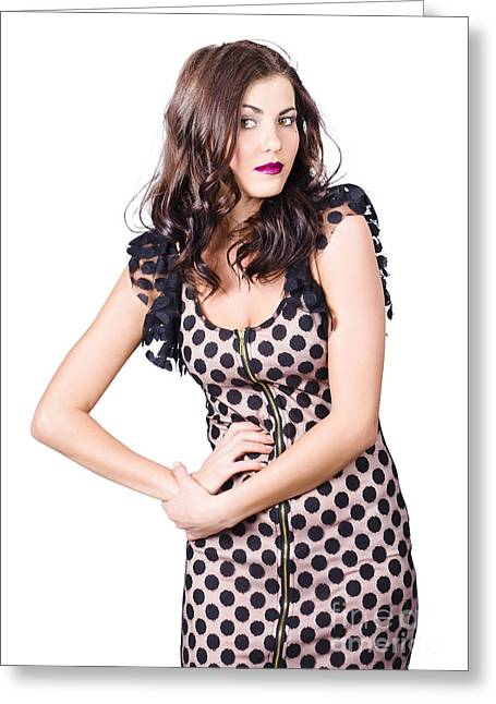 Elegant High Fashion Model In Autumn Clothes Greeting Card by Jorgo Photography - Wall Art Gallery