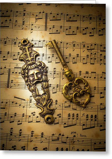 Elegant Keyhole And Sheet Music Greeting Card