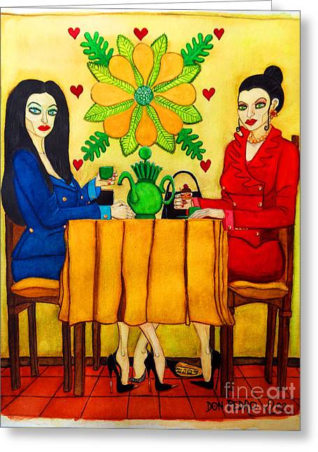 Greeting Card featuring the painting Elegant Ladies In A Coffee-shop by Don Pedro De Gracia