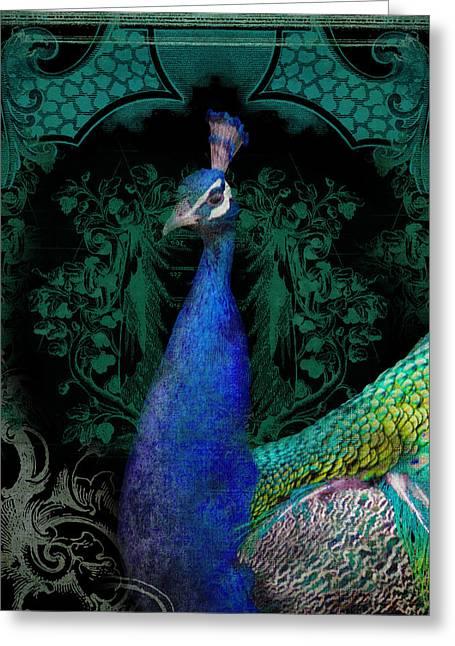 Elegant Peacock W Vintage Scrolls  Greeting Card