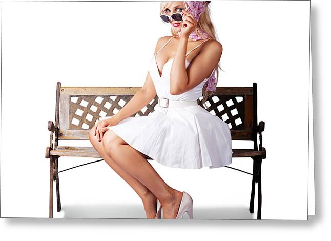 Elegant Pinup Lady Sitting Alone On Park Bench Greeting Card