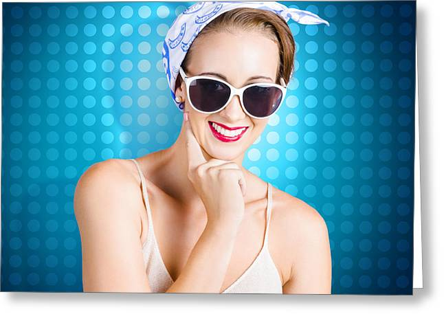 Elegant Pinup Woman Wearing Classic Retro Fashion Greeting Card