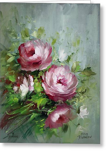 Elegant Roses Greeting Card by David Jansen