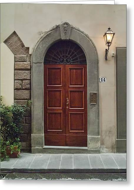 Greeting Card featuring the photograph Elegant Tuscan Door by Michael Flood