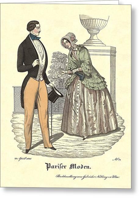 Elegant Vintage Biedermeier Fashion Greeting Card by Village Antiques