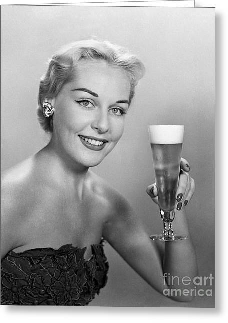 Elegant Woman With Beer, C.1950s Greeting Card by H. Armstrong Roberts/ClassicStock