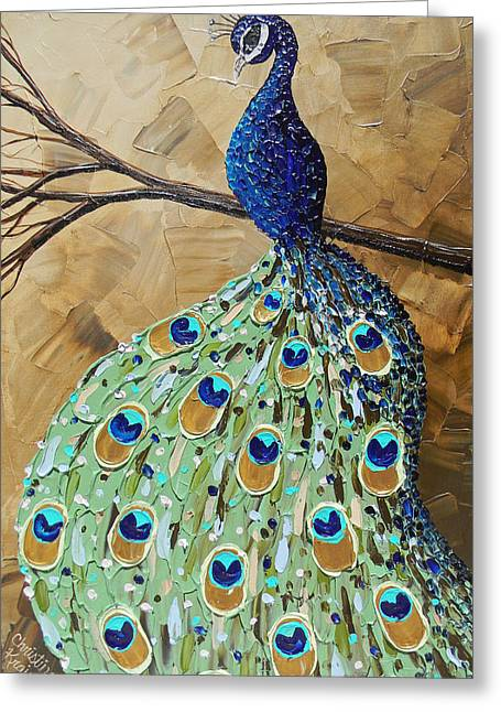 Elegantly Perched Peacock Greeting Card