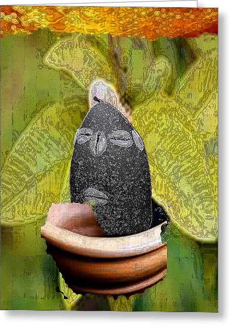 Orishas Greeting Cards - Eleggua Guava Greeting Card by Liz Loz