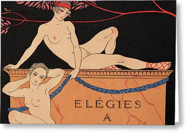 Elegies A Mytilene Greeting Card by Georges Barbier