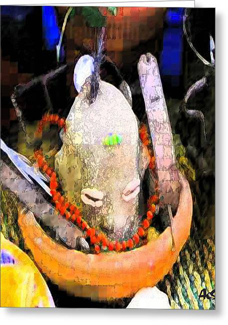Orishas Greeting Cards - Elegua By The Door Greeting Card by Liz Loz