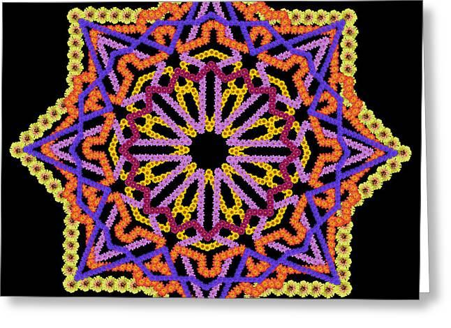Element Of The Persian Rug - Black Star Greeting Card by Aleksandr Volkov