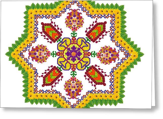 Element Of The Persian Rug - Octagonal Star Greeting Card by Aleksandr Volkov