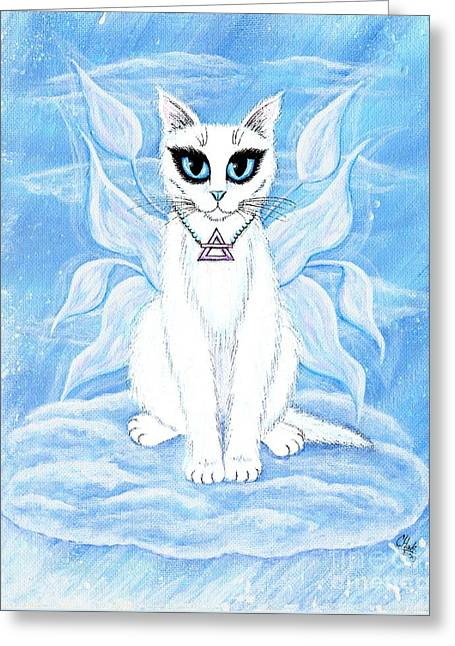Elemental Air Fairy Cat Greeting Card by Carrie Hawks