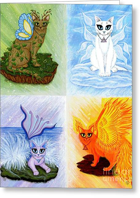 Elemental Cats Greeting Card by Carrie Hawks