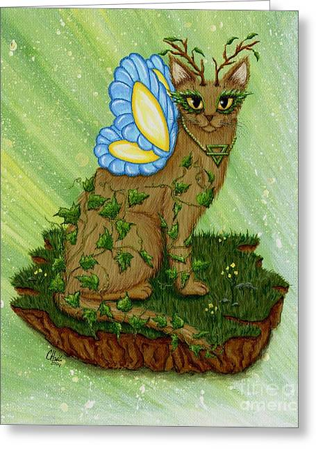 Elemental Earth Fairy Cat Greeting Card by Carrie Hawks