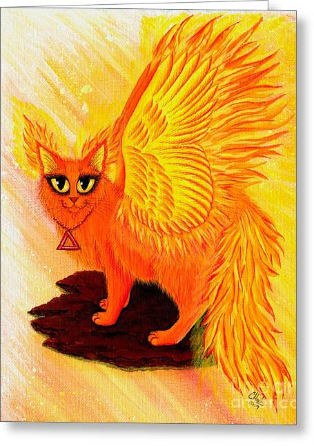 Elemental Fire Fairy Cat Greeting Card by Carrie Hawks