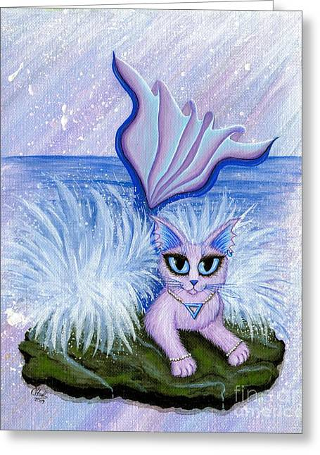 Elemental Water Mermaid Cat Greeting Card by Carrie Hawks