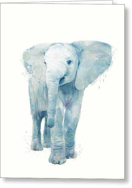Elephant Greeting Card by Amy Hamilton