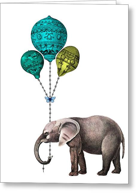 Elephant Holding Blue And Yellow Balloons Greeting Card