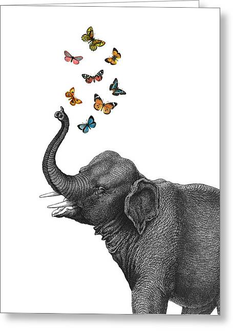 Elephant Blowing Butterflies From His Trunk Greeting Card by Madame Memento