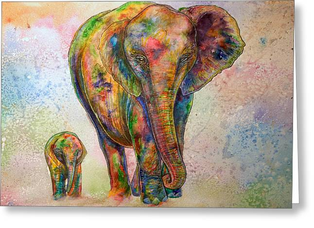 Elephant And Calf Greeting Card by Morgo Sladek