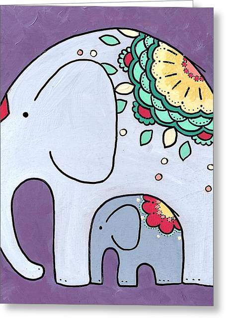 Elephant And Child - On Purple Greeting Card
