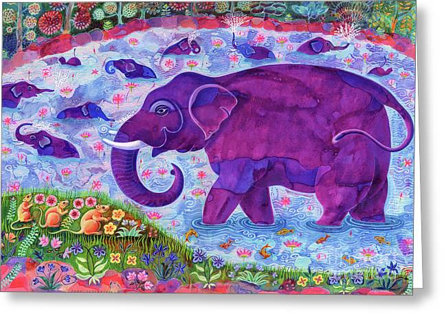 Elephant And Mice Greeting Card by Jane Tattersfield