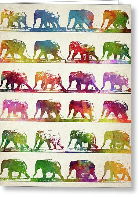 Elephant Animal Locomotion  Greeting Card by Aged Pixel