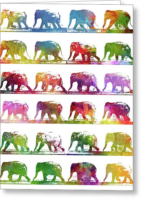 Elephant Animal Locomotion - White Greeting Card