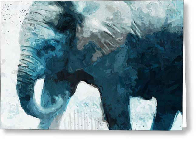 Elephant- Art By Linda Woods Greeting Card