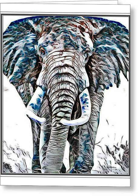 Elephant Asian Ink Abstract  Greeting Card by Scott Wallace