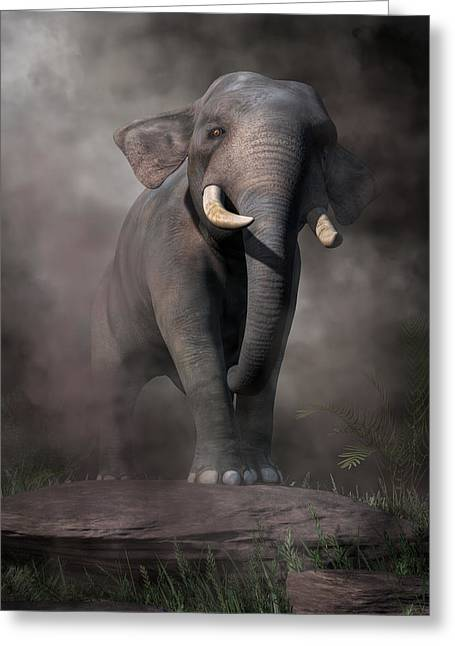 Greeting Card featuring the digital art Elephant by Daniel Eskridge