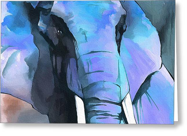 Elephant Face I Greeting Card by Ronald Bolokofsky