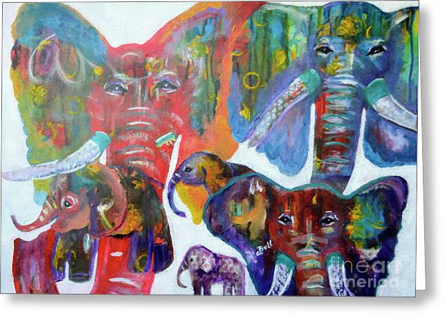 Greeting Card featuring the painting Elephant Family by Claire Bull