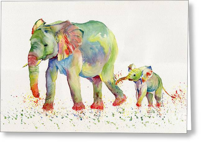 Elephant Family Watercolor  Greeting Card
