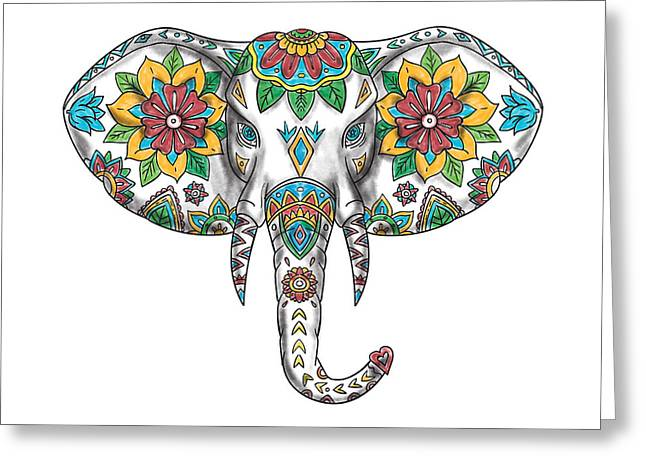 Elephant Head Mandala Tattoo Greeting Card
