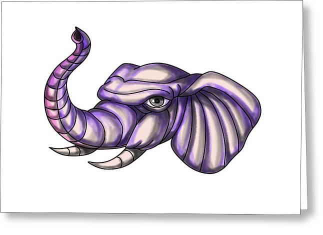 Elephant Head Trunk Tattoo Greeting Card by Aloysius Patrimonio