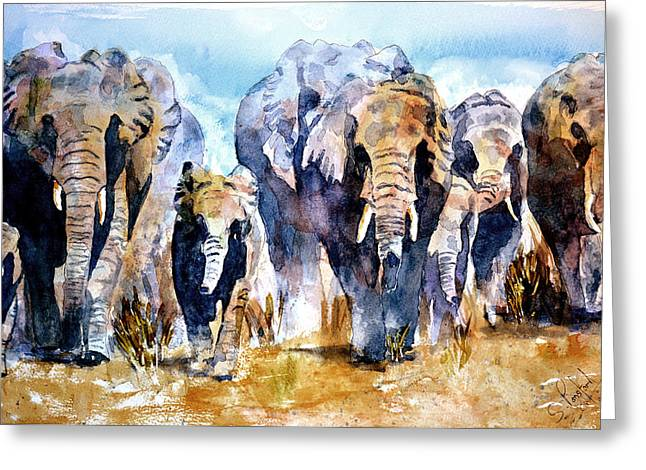Elephant Herd Greeting Card by Steven Ponsford