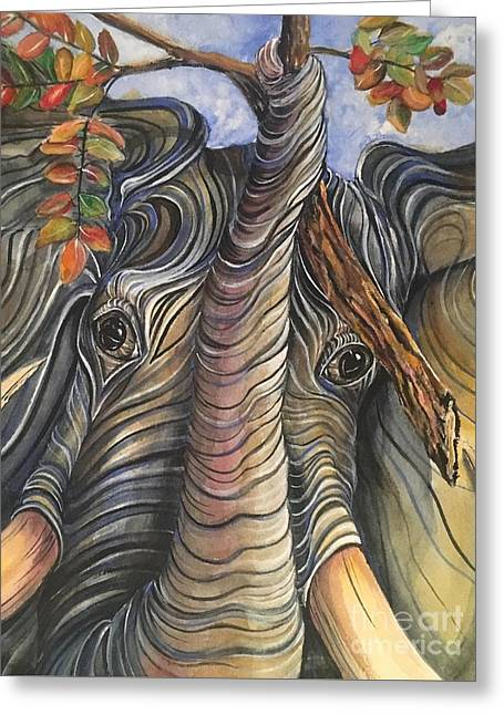 Elephant Holding A Tree Branch Greeting Card