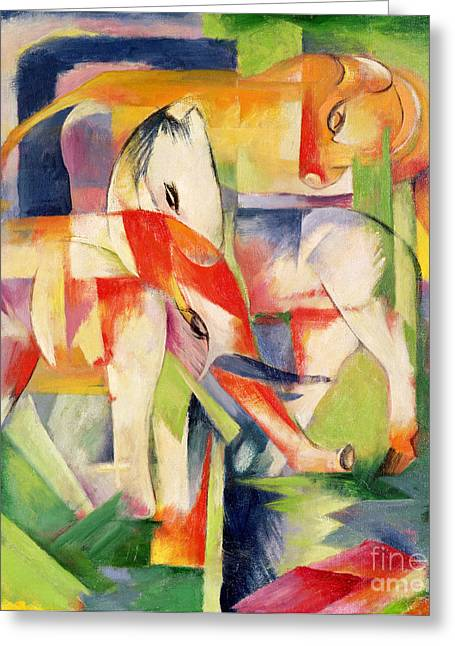 Elephant Horse And Cow Greeting Card by Franz Marc