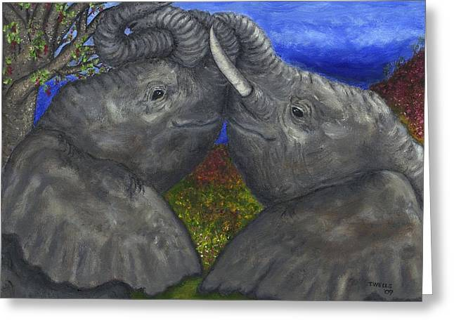 Elephant Hugs Greeting Card by Tanna Lee M Wells