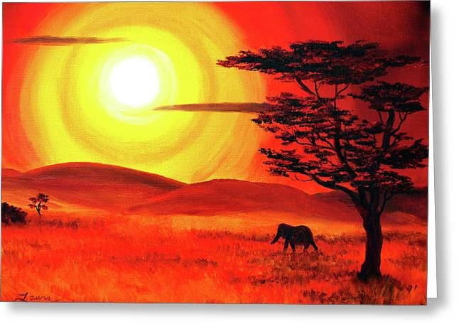 Elephant In A Bright Sunset Greeting Card by Laura Iverson