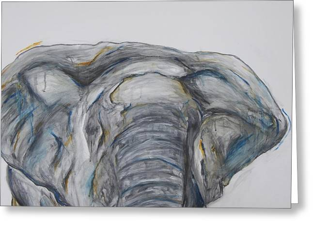 Elephant In Blue And Orange Greeting Card