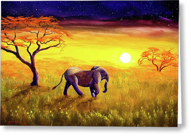 Elephant In Purple Twilight Greeting Card by Laura Iverson
