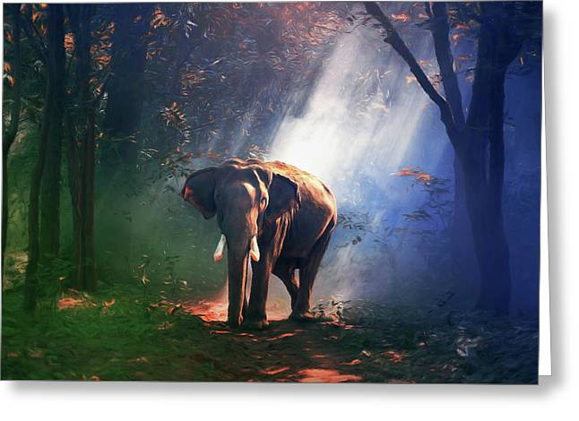 Elephant In The Heat Of The Sun Greeting Card