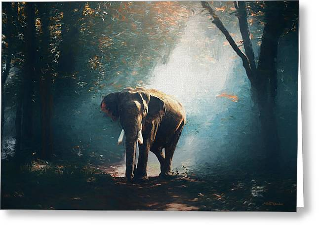 Elephant In The Mist - Painting Greeting Card
